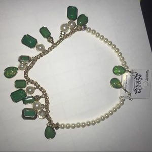 Jewelry - pearl and emerald neckless & earrings
